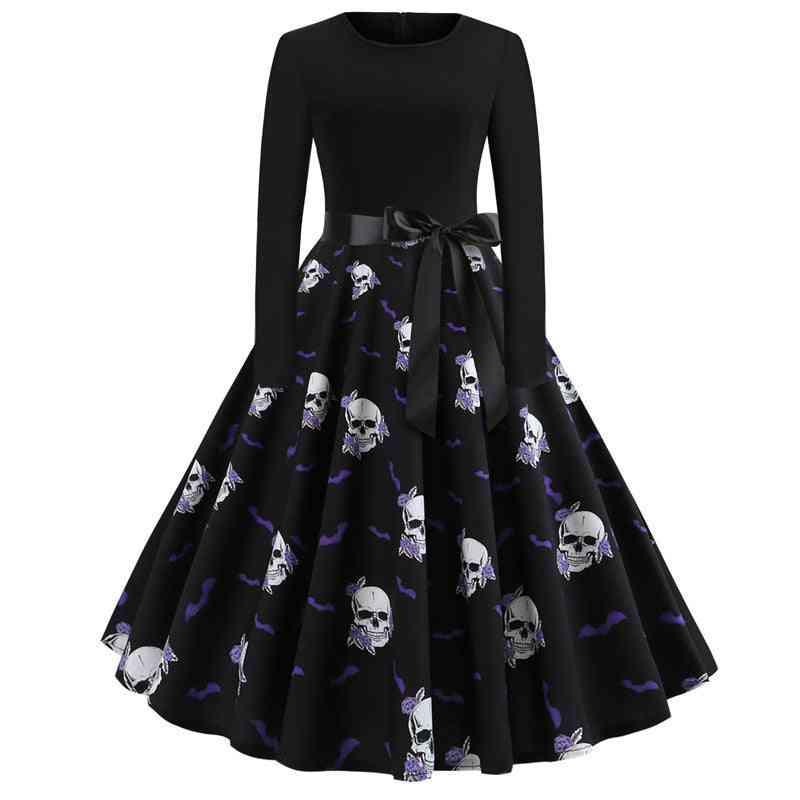 Halloween Print Long Sleeve Dress