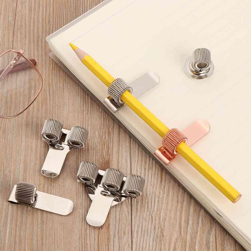 Spring Pen Clip Metal Pencil Holder