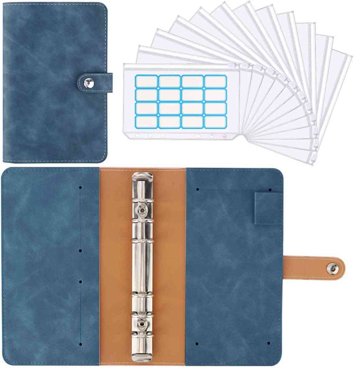 Pu Leather Budget Planner Refillable 6 Round Rings Binder Cover