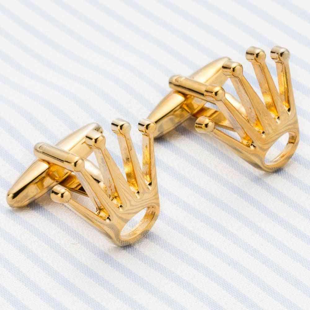 Crown Cufflinks Men's Dress Shirt Brass