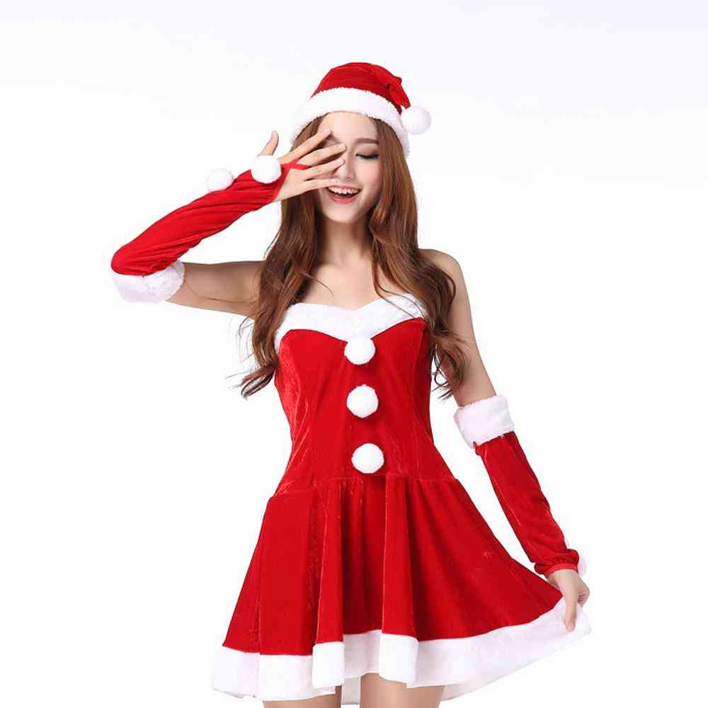 New Style Ladies Santa Costume Party Fancy Two Parts Dress Cosplay