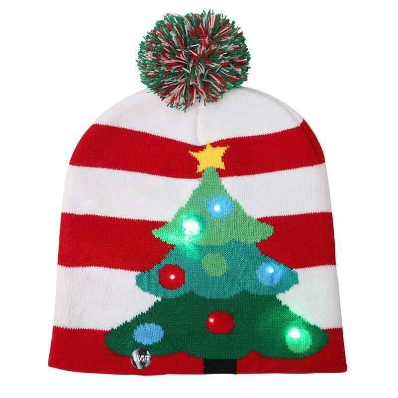 Christmas Hats Sweater Knitted Beanie Hat With Led Light Up