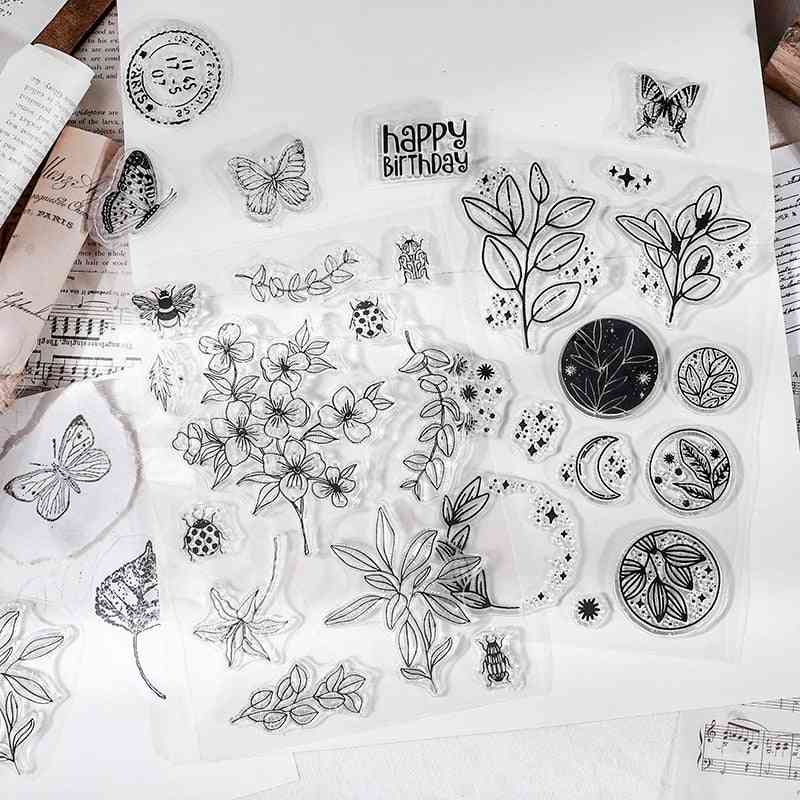 Butterfly, Leaves, Moon Decoration Silicone Transparent Rubber Stamps