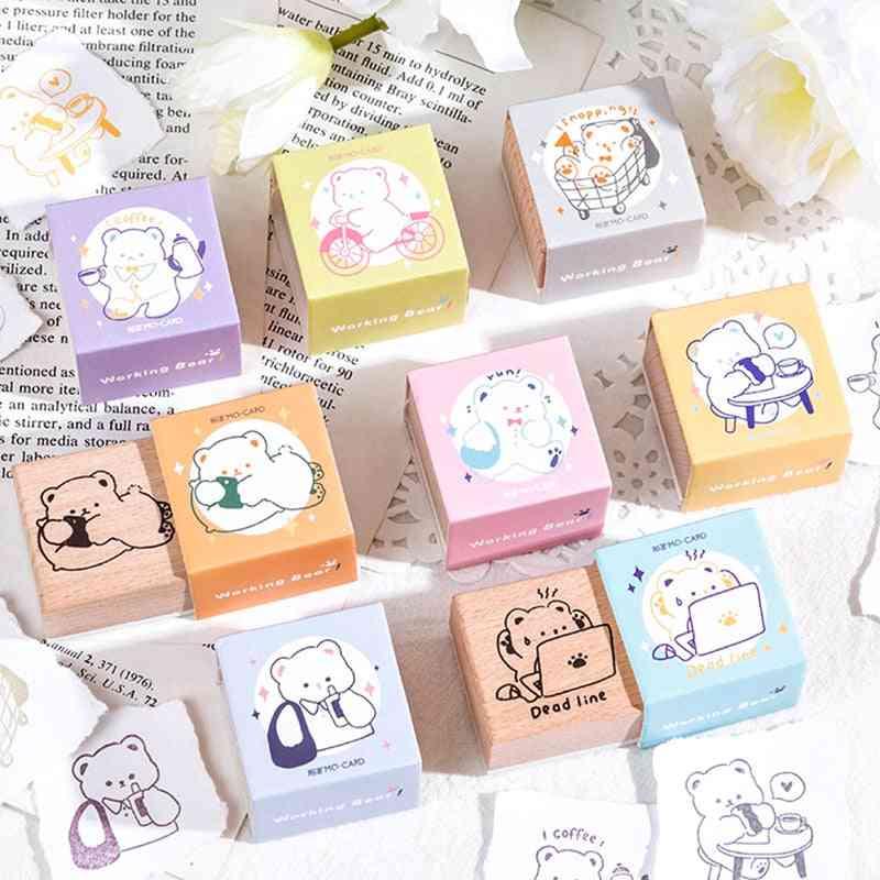 Cute Cartoon Bear Worker Series Decoration Wooden Rubber Stamps