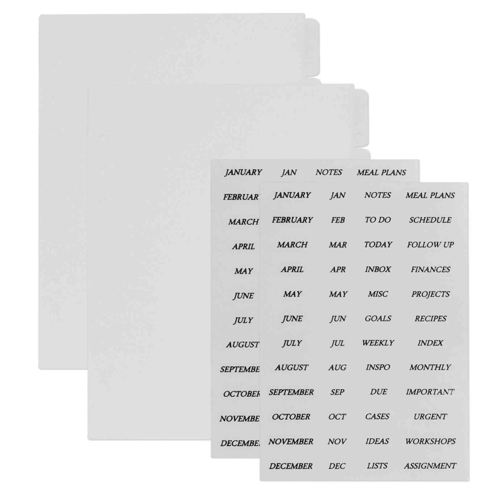 Index Divider Sticker Transparent Plastic Tab