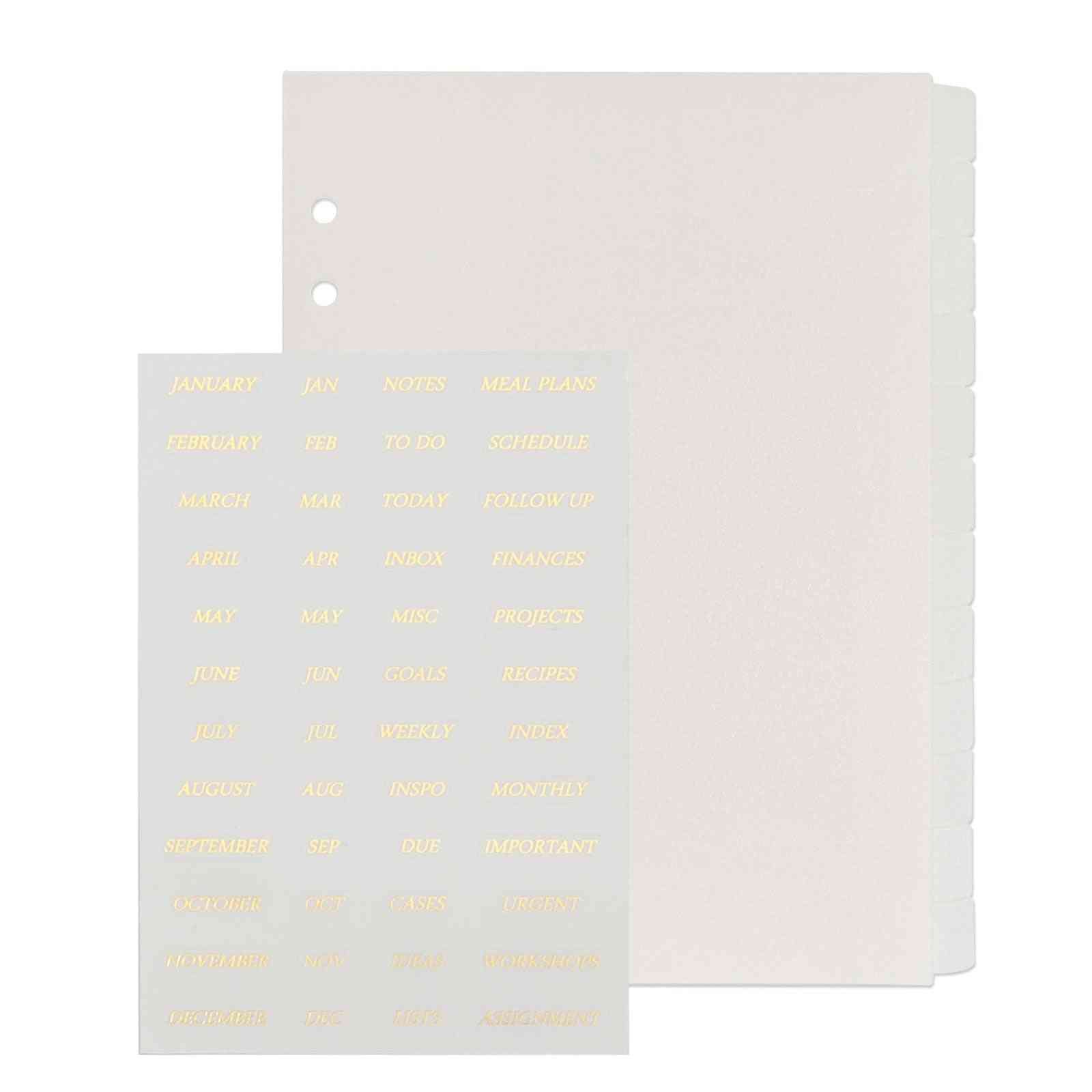 Foiled Gold Stickers A5 Tabbed Divider