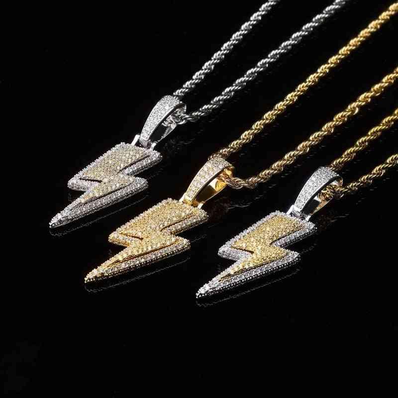 Jewelry Retro Full Zircon Lightning Men's Necklace