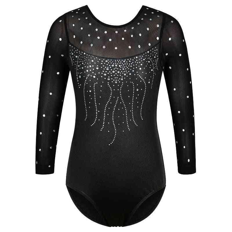 Long Sleeve Mesh Patchwork Leotards For. Gymnastics Jumpsuit