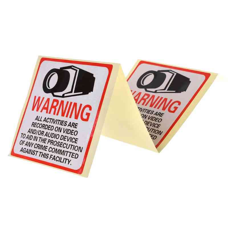 Warning Stickers, Security Camera In Use Self-adhesive Safety Label Signs Decal