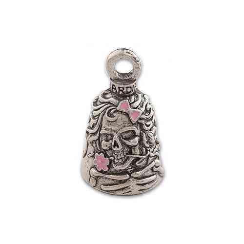 Guardian Bell, Metal, Lady Skull, Skeleton, Flowers (pink Highlights),