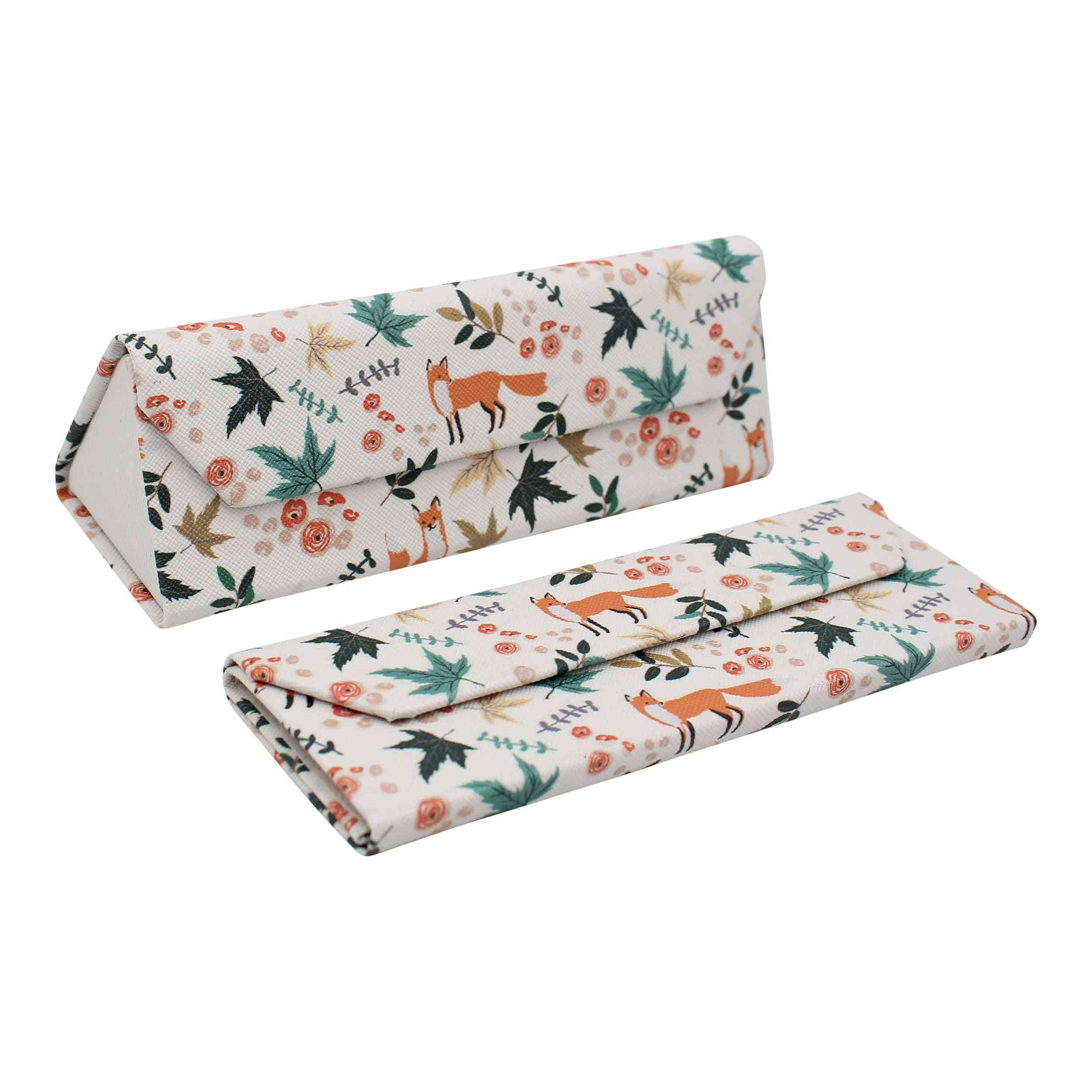 Real Sic  Animal Pu Leather Glasses Case - Foxes (small)