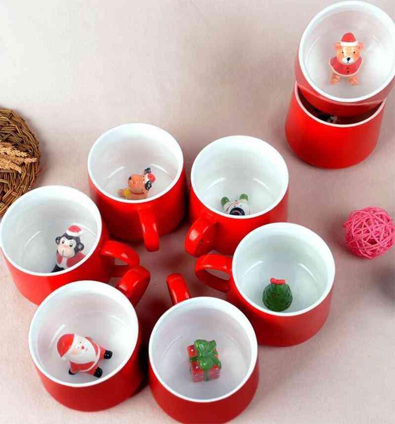 Xmas Mug Coffee Milk Mug Cartoon Ceramics Cup 3d Animal Christmas