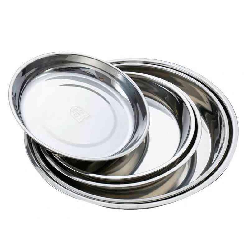 5pcs Camping 14-28cm Dia Stainless Steel Tableware Dinner Plate Food