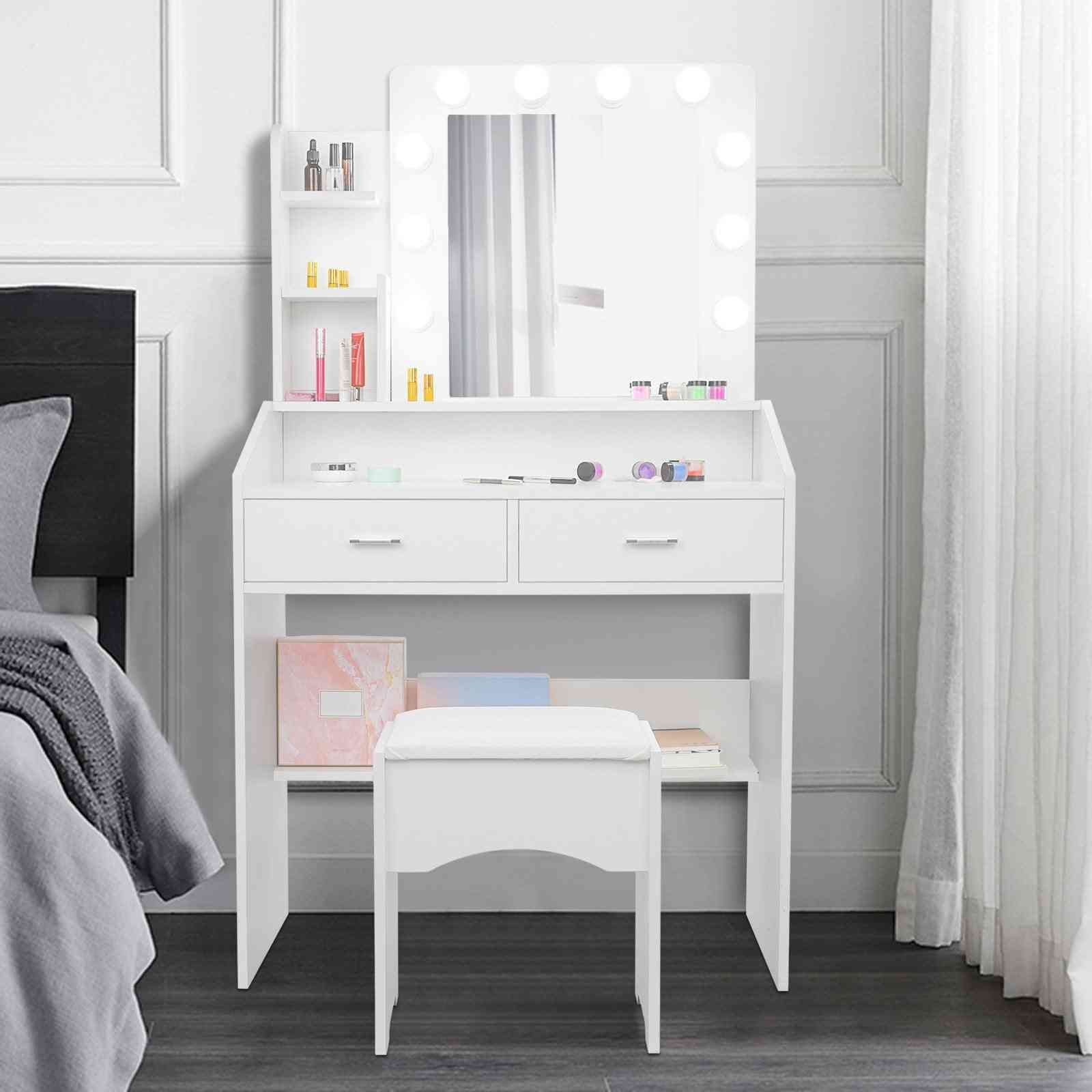 Led Vanity Set With Lighted Mirror Cushioned Stool Dressing Table