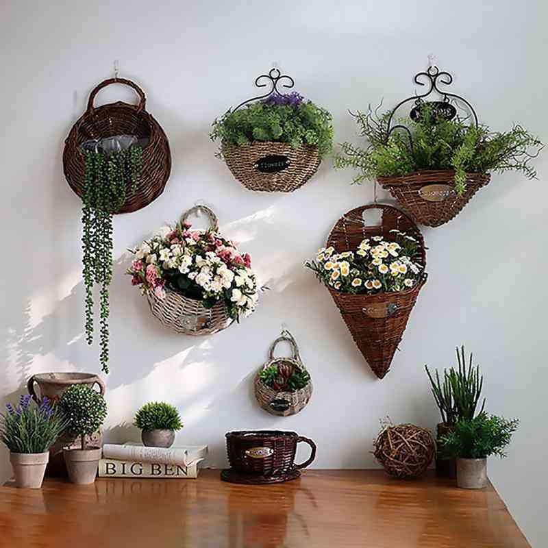 Hand Made Wicker Rattan Flower Basket Green Vine Pot Planter Hanging