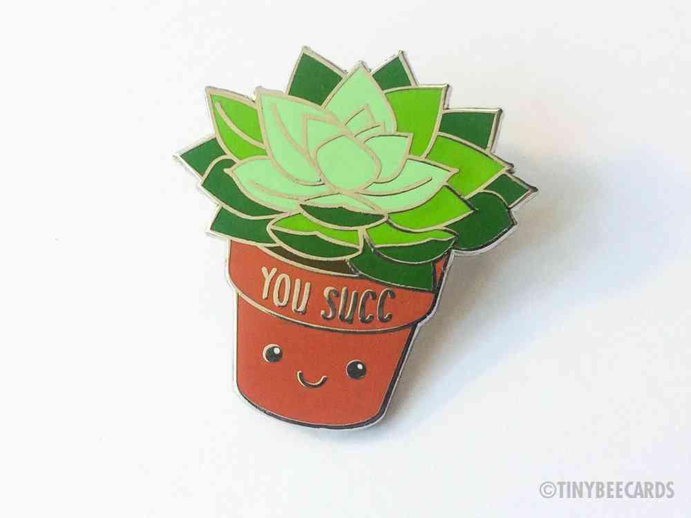 Succulent Enamel Pin Rude Pun