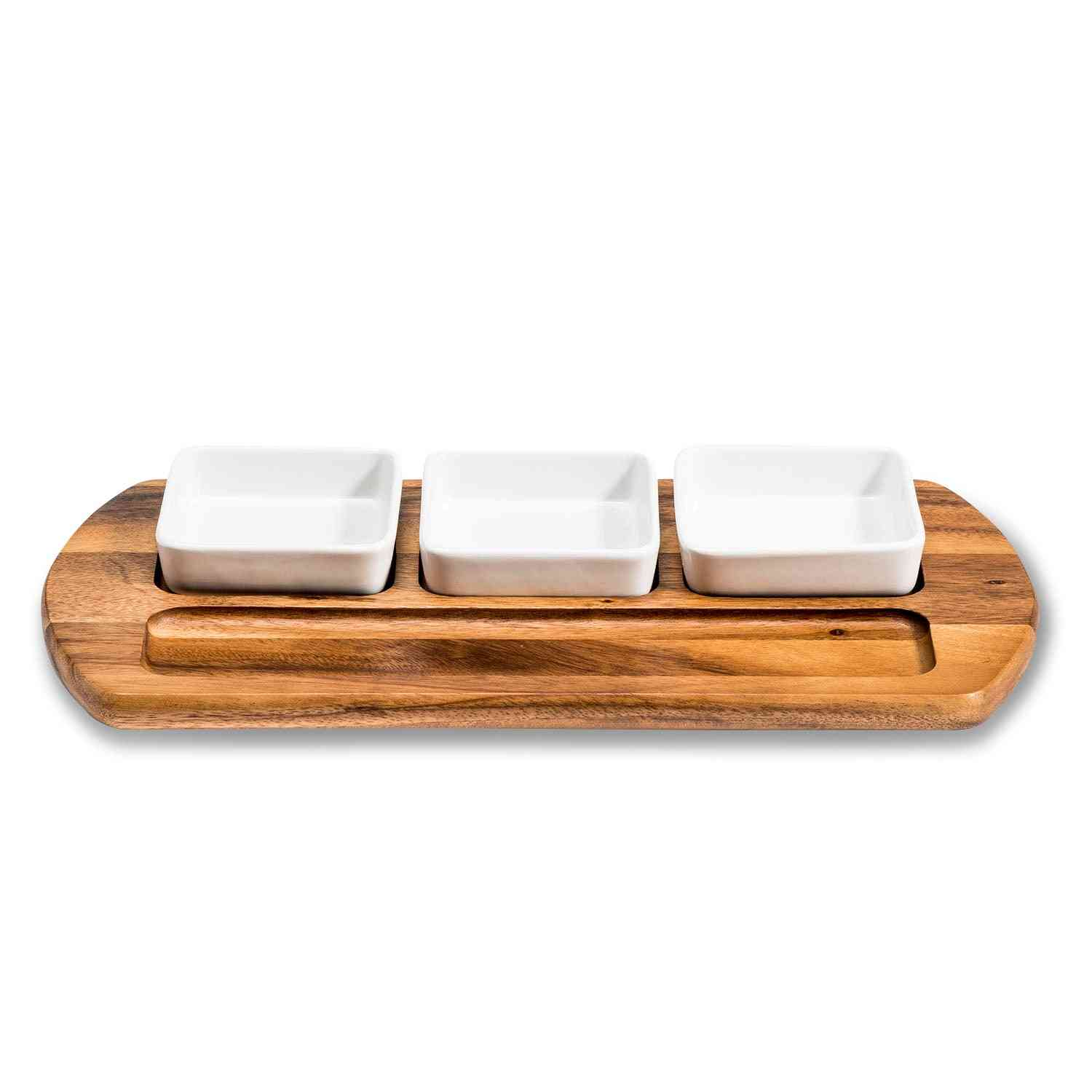 Charcuterie/ Serving Tray W/ 3 Square Ceramic Bowls