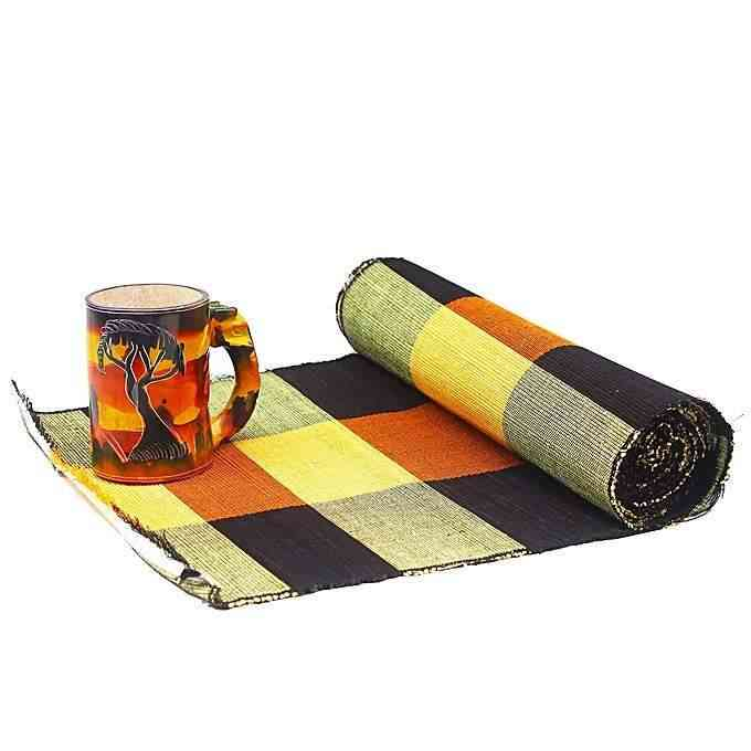 African Handcrafted Raffia Leaves Set Of Placemats And Table Runner