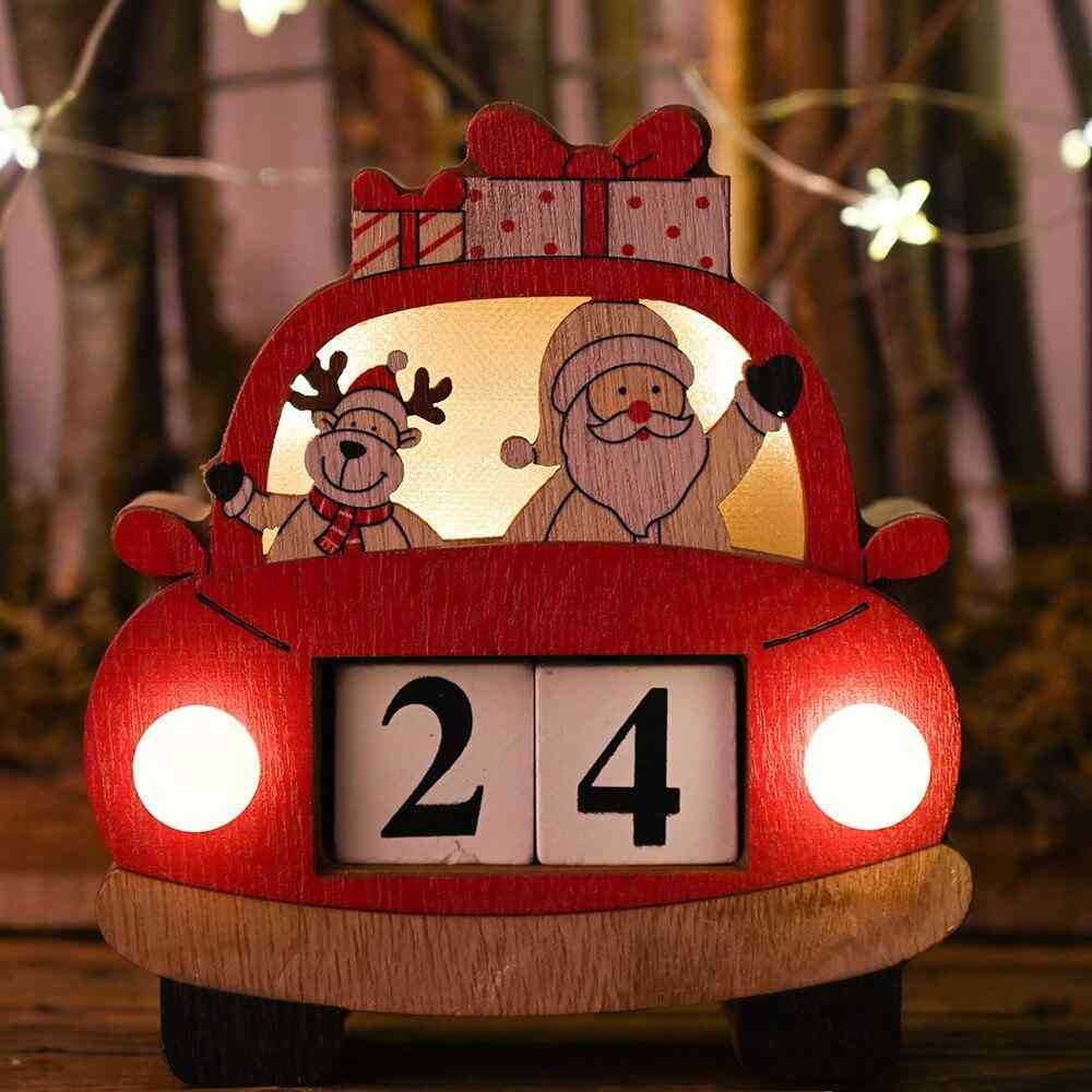Christmas Countdown Advent Calendar With Lights Wooden Decoration