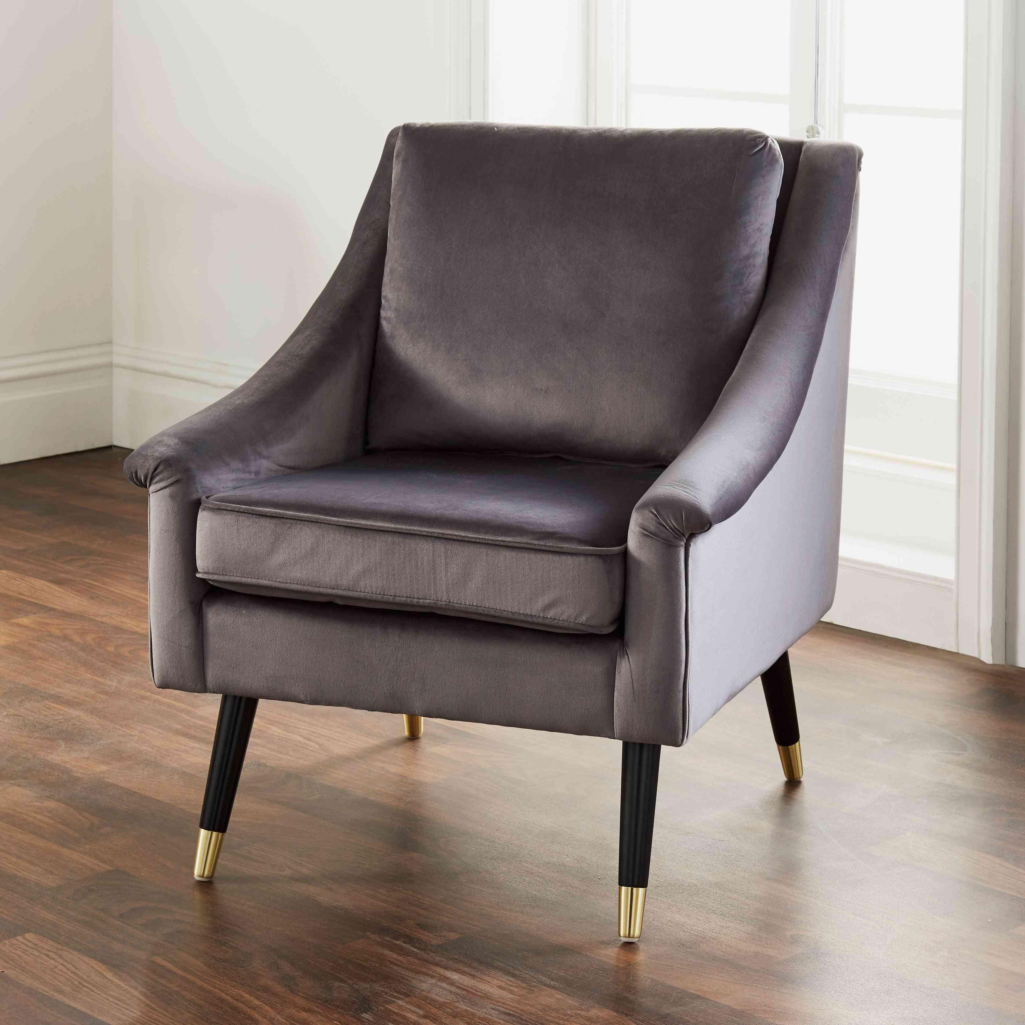 Luxury Gray Velvet Grace Armchair