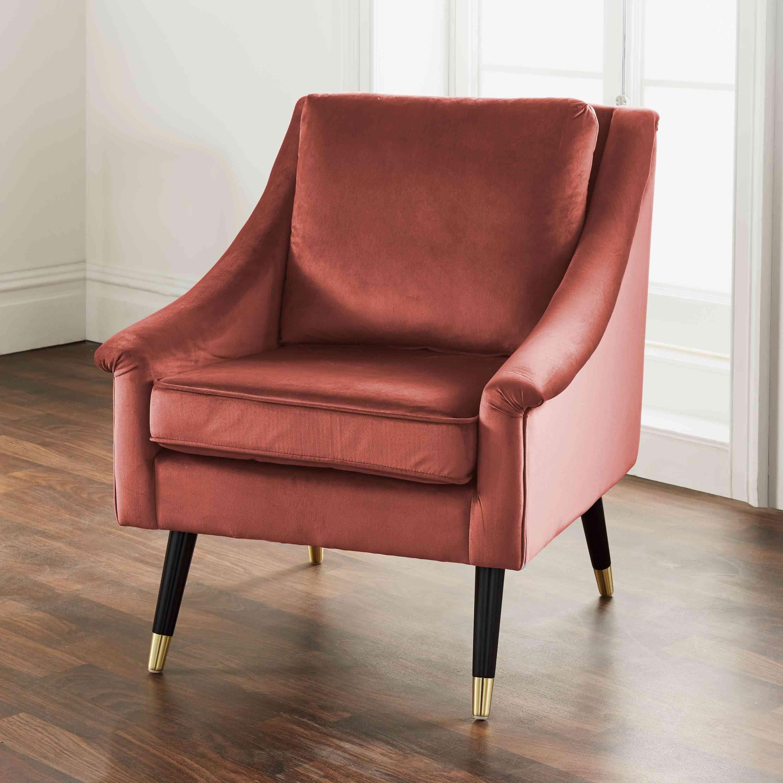Luxury Rose Velvet Grace Armchair