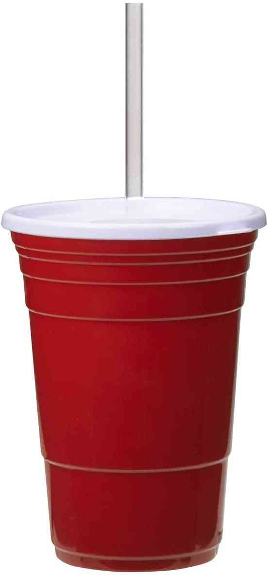 Red Cup Living Cup With Lid And Straw, 24 Oz., Red